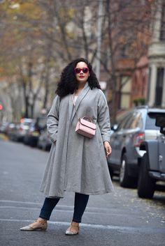 Grey Swing Coat, Pink Crossbody, Flats (plus size blogger)