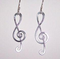 Treble Cleft Aluminum Silver Wire Dangle Earrings #Handmade #DropDangle