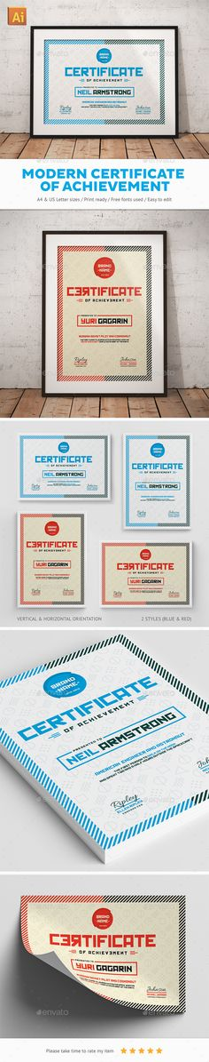 Modern Certificate Of Achievement - Certificates Stationery