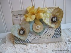 shabby chic card trio of hearts card blank by cherrysjubileecards