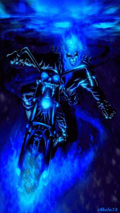 New Beginnings 66 Blue Ghost Rider, Ghost Rider Marvel, Ghost Rider Wallpaper, Skull Wallpaper, Eagle Wallpaper, Grim Reaper Art, Skull Pictures, Skull Artwork, Dark Angels