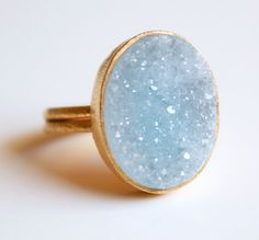 Aqua blue agate druzy ring