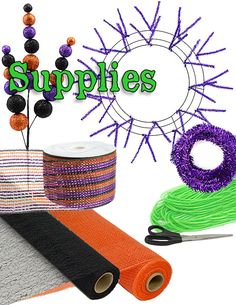 How to make mesh wreaths: Halloween Glitter Wreath Supplies. Type halloween in the pages search feature to get to this particular wreath. Deco Mesh Crafts, Wreath Crafts, Diy Wreath, Wreath Ideas, Wreath Making, Tulle Wreath, Halloween Mesh Wreaths, Holiday Wreaths, Winter Wreaths