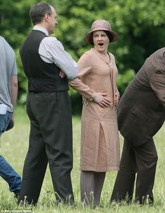 The Bates' Legal Team.. Sophie McShera as Daisy, village scenes series final filming, June 2015..