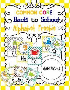 Back to School Common Core Alphabet Freebie.