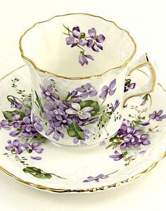Antique vintage Hammersley tea cup and saucers, Victorian Violets bone china England c1920s (from etsy)