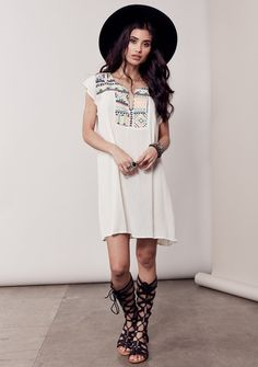 Dela Embroidered Tunic Dress - Off White