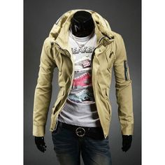 Wholesale Stylish Slimming Double Stand Collar Solid Color Long Sleeves Men's Polyester Jacket Only $17.25 Drop Shipping   TrendsGal.com