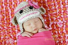 Girl Sock Monkey Hat