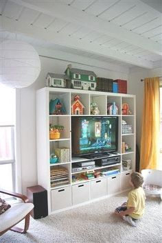 Best Cheap IKEA Kids Playroom Ideas for 2019 – ViraLinspirationS – Kallax Ideas 2020 Ikea Kids Playroom, Playroom Storage, Ikea Storage, Living Room Storage, Playroom Decor, Kids Room, Storage Ideas, Tv Stand Toy Storage, Record Storage