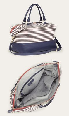 Blue & white striped soft canvas duffle bag with a removable shoulder strap and bottom feet. Great for weekend trips.