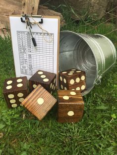 Homemade Yard Yahtzee! Only thing I had to buy was the bucket - everything else was stuff I had laying around!!