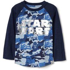 Gap Star Wars slub baseball tee ($25) ❤ liked on Polyvore featuring tops, t-shirts, baseball t shirt, baseball tshirt, baseball tee shirts, baseball style t shirts and blue top