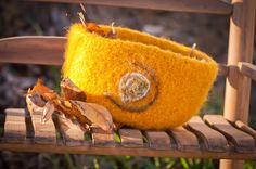 Yellow needle felted bowl by linkandloop on Etsy, $18.00