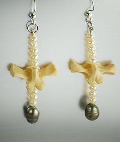 Vertebrae and Pearl earrings by SAULSOGALLERY on Etsy