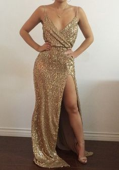 Golden Plain Sequin Bridesmaid V-neck Spaghetti Strap Slit Sexy Maxi Dress