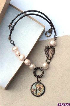 Mother of pearl MOP tesori trovati salmon pink by esferajewelry, $57.75