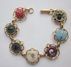 Button Bracelet. Electroplated Gold by OneWomanRepurposed on Etsy