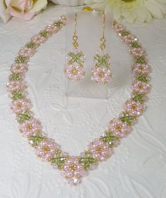 Woven Necklace and Earrings Pearl and Rosaline Swarovski