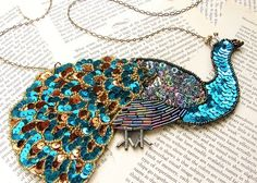 sequin and bead peacock