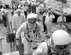 """Cooper and Conrad Enroute to Launch Pad Gemani 5 (July Gemini 5 Prime Crew, Charles """"Pete"""" Conrad and Gordon Cooper in their silver pressure suits are greeted by employees as they make their way to the launch pad. Pete Conrad, Gordon Cooper, Project Gemini, Apollo Missions, Kennedy Space Center, Launch Pad, Nasa Astronauts, Space Race, Visit Florida"""