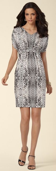 216ee88a53  Soma Shirred Sleeve Dress in Instinct Print  SomaIntimates Just bought  this! Comfy Dresses