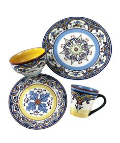 This Euro Ceramica Zanzibar Dinnerware Set features vibrant designs and floral flourishes inspired by the exotic locale it is named after. Durable white ceramic is the perfect palette for brilliant earthy colors- the perfect addition to any theme. Modern Dinnerware, Square Dinnerware Set, Porcelain Dinnerware, Dinnerware Sets, Dinner Wear, Dish Sets, Dinner Plates, Dinner Table, Stoneware