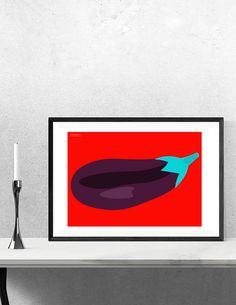 The perfect kitchen decor, this Pop Art digital print of an aubergine (or eggplant, if you prefer) is now available from Chiaroscuro Prints on Etsy.