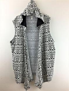 Womens Plus Size 3X Maria Gabrielle Southwest Aztec Hooded Sweater Vest Cardigan #MariaGabrielle SOLD