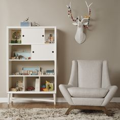 Dwell Studio Mid-Century Bookcase in French White Mid Century Modern Bookcase, Mid Century Modern Furniture, Kids Bookcase, Bookshelf Ideas, Bookcases, Kids Decor, Home Decor, Kid Spaces, Small Spaces