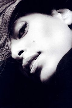 Eva Mendez black and white photo contours of her face