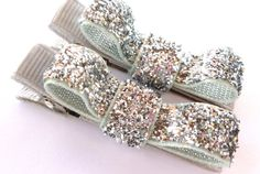 silver sparkle clips--small 2 inch tuxedo hair bows--christmas hair accessories for baby toddler big girl--holiday gift ideas. $2.99, via Etsy.