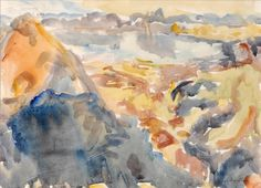 A watercolour landscape: a peaked hill rises in the left foreground, while behind, Tasman Bay stretches around in a circle with the Mount Richmond Range on the far side. A study for the major studio oil painting 'View from Takaka Hill' 1976 (accession Watercolor Landscape, Watercolour, Tossed, Museums, Painting, Art, Watercolor, Watercolor Painting, Painting Art
