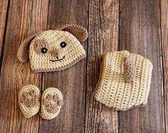 crochet puppy hat set newborn photo prop dog hat set by dsgngrl