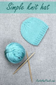 Simple Beanie Hat Knitting Pattern - PurlsAndPixels : Simple hand knit hats make great homemade gifts that they'll actually use. This unisex knitting pattern comes with instructions for beanies in all sizes (preemie thru adult xl). Baby Hat Knitting Patterns Free, Baby Cardigan Knitting Pattern, Baby Hat Patterns, Baby Hats Knitting, Easy Knitting, Knitted Hats, Charity Knitting, Double Knitting, Loom Knitting