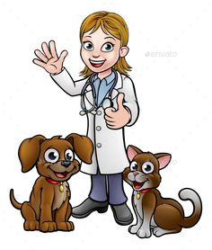 A vet cartoon character with pet cat and dog animals