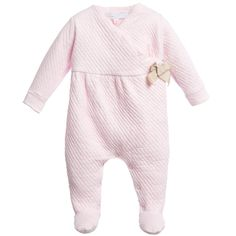 Pale Pink Quilted Babygrow with Gold Bow, Tartine et Chocolat, Girl