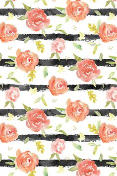 Watercolor Peony Stripes by angiemakes - Black stripes with watercolor floral overlay on fabric, wallpaper, and gift wrap. Beautiful hand painted watercolor stripes and flowers. Striped Wallpaper, Flower Wallpaper, Pattern Wallpaper, Wallpaper Backgrounds, Fabric Wallpaper, Floral Backgrounds, Computer Wallpaper, Cellphone Wallpaper, Art Design