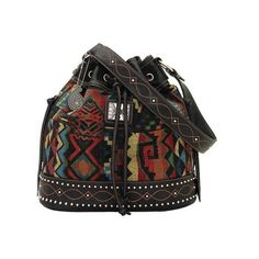 Women's Bandana Black Canyon Drawstring Bucket Bag - Black/Multi... ($79) ❤ liked on Polyvore featuring bags, handbags, shoulder bags, black, tapestry shoulder bag, woven purse, vegan leather handbags, faux leather shoulder bag and draw string pouch
