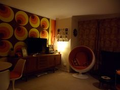 60's style with thick brown shagpile carpet