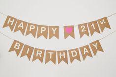 21st Birthday Banner Pink Heart Bunting Party by LittleGemGem