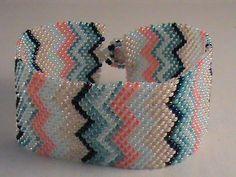 Zig zag multi color design seed bead peyote by EyeCandybyJBWeb, $20.00
