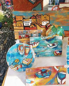 "47 Likes, 5 Comments - Leanne Bovey (@leanne_art) on Instagram: ""🛶⛵️ #market #stall #artwork #paint #painting #fineart #drawing #draw #linedrawing #colour…"""
