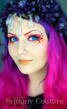 """Colorful make-up look with a red gem accents titled """"Autumn Fairy."""""""