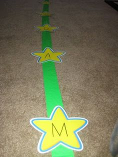 """The Activity Mom: Play Games with Tape - love the """"Learn Your Name Hopping Game:)"""""""