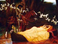 The Lady of Shallot, by Jeff Barson print limited edition - Ashley's Art Gallery Dante Gabriel Rossetti, The Lady Of Shalott, John Everett Millais, Pre Raphaelite, Art Plastique, Art History, Painting & Drawing, Medieval, Illustration