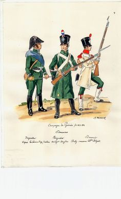 .French; National Guard Pyrenees; Customs Department; Inspector, Brigadier and Soldier 1813-14.