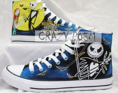 The Nightmare Before Christmas Hand Painted Shoes Custom  High Top Sneakers Canvas Shoes Best Presents for Men Women,US Free Shipping