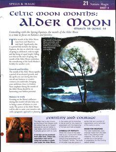 Enhancing Mind Body Spirit  21 Nature Magic Card 8 Celtic Moon Months: Alder Moon
