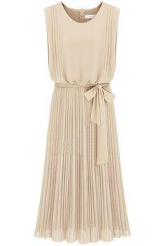 Apricot Sleeveless Back Zipper Belt Pleated Dress - Sheinside.com